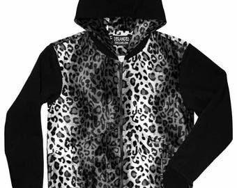 SALE: Men's Grey Leopard and Black Hoodie Snow White Cheetah Zipper Hooded Sweatshirt Jacket sizes S M L Faux Fur fleece