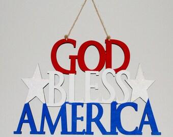 God Bless America Door Hanger