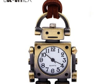 Robot Creative Pocket Watch Pendant Necklace for Women