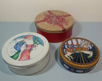 Set of 3 Holiday Season Round Cookie Tin Can Christmas Nesting Canister Candy Biscuits Tea Trinket Sewing Notions Keeper Organizer Collector