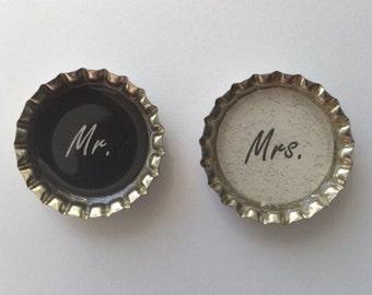 Bottle cap magnets set wedding mr and mrs black and white gift for couple bridal shower refrigerator fridge kitchen
