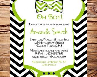 Oh Boy Baby shower Invitation boy, Bowtie Baby Boy Shower, Black, Green, Chevron Stripes Bow Tie Baby Boy Shower, 1427