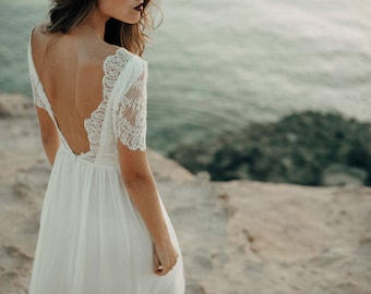Wedding dress, beach wedding dress, lace wedding dress, boho wedding dress, wedding dress bohemian, open back wedding dress. Backless dress.