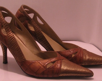 BKE Brown and Gold Heel size 9 1/2
