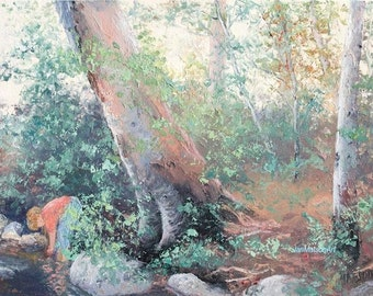 Original landscape oil painting, canvas art, impressionist art, living room art, creek, paintings of trees, gum trees, Etsy art, Jan Matson