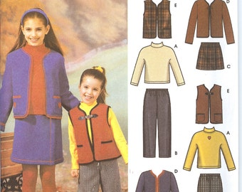 Simplicity 4883  Child's and Girls' Pants, Skirt, Jacket, or Vest Knit Top  ID 173