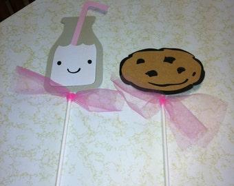 Milk and cookie centerpiece sticks