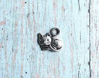 8 Small Cat charms (1 sided) antique silver tone- silver cat pendants, gift for cat lover, animal charms, pet charms, kitten charms, J10