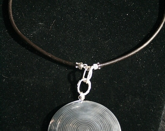 NORTH COAST Coco Shell, Leather and Sterling Silver Necklace