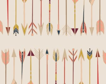 Crib Sheet, Baby Bedding, Bow and Arrow, Fletching Chant, Art Gallery Fabrics, Coral and Mint, Nursery Bedding, Toddler Bedding