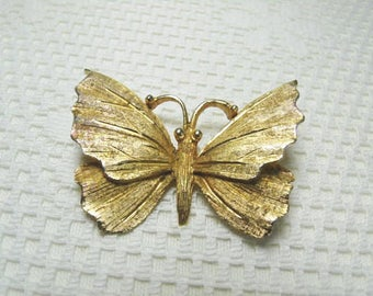 Vintage BSK Butterfly Brooch With A Bright Brushed Gold Tone Finish / Enchanted Insect Brooch