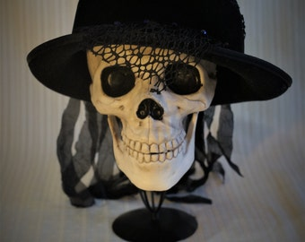 Gothic Hat with Handmade Flowers and Tattered Veil