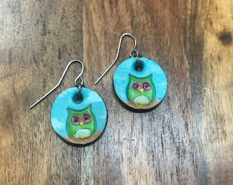 Hand Painted Owl Earring