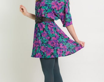Vintage Jewel Toned Floral Dress (Size Large)