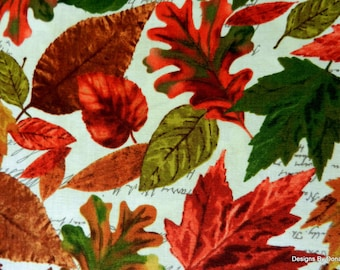 "One Half Yard Cut Quilt Fabric, Different Fall Leaves on Cream, ""Cabin"" Pattern from Timeless Treasures, Sewing-Quilting-Craft Supplies"