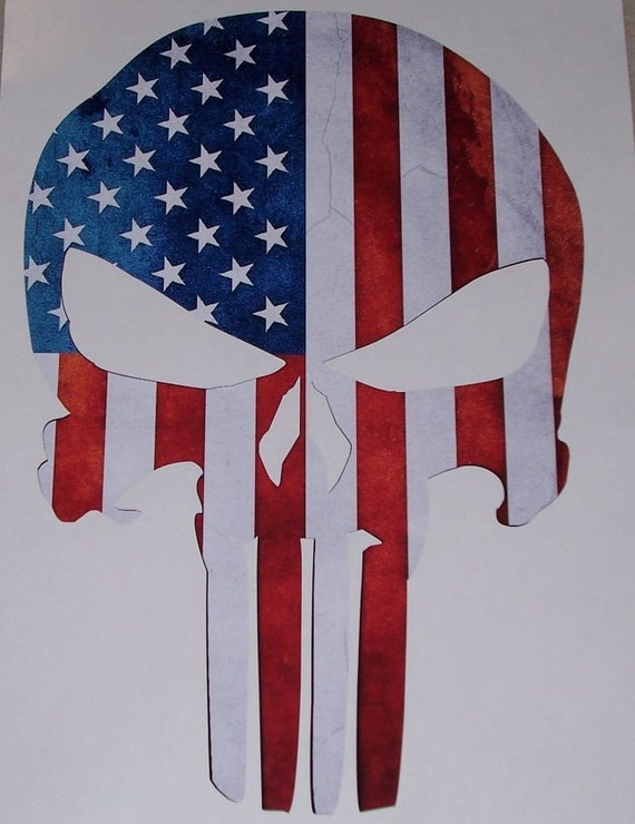 American Flag Camo Skull Trailer Window Decal Decals Sticker