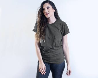 Relaxed Fit Tapered Tee | Minimalist Top | Short Cuffed Sleeve Cotton Tshirt | Classic Tee T-shirt | Bohemian Boho Clothing | (# 415-223)