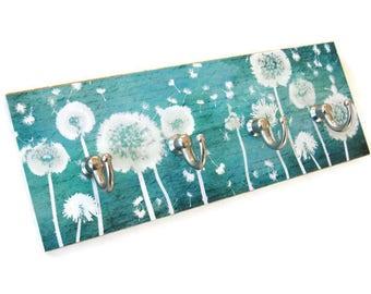 Teal Wall Key Holder, Dandelion Wall Decor Hooks for Keys, Key Rack, Blue Green Key Hooks, Necklace Hanger (8)