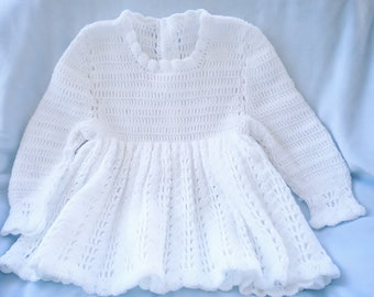 Crochet Infant Dress Easter Flower Girl Baby Girl White Dress 6 9 mo
