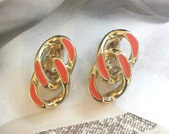 VINTAGE - Orange bracelet clip earrings