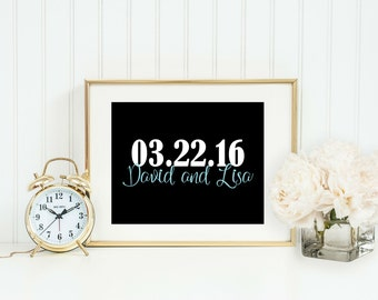 Minimalist Wedding - Personalized Wedding Gift - Christmas Gift for Wife - Wedding Gifts For Couple - Important Date - Couples Gift