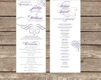 Amelia Collection Fancy Flourish Wedding Program- DIY Printable - Lovely Little Party - You Choose Color