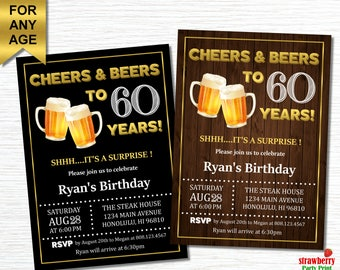 50th birthday invitation for men cheers and beers to 50 60th birthday invitations for men cheers and beers to 60 years beer birthday invitation surprise adult birthday invitations a21 stopboris Choice Image