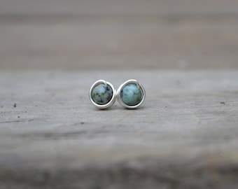 African Turquoise Silver Stud Earrings // Turquoise Earrings // Wire Wrapped Earrings // Post Earrings //Silver Studs // Gift For Her
