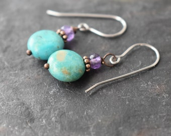 Amethyst and Turquoise Earrings, Turquoise jewelry, Simple Stone Earrings, Birthstones, Gift For Her, Simple Earrings