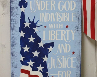One Nation Under God/4th of July Subway Style Sign/Americana Sign/Holiday Decor/Statue of Liberty/Red/White/Blue/Wood Sign