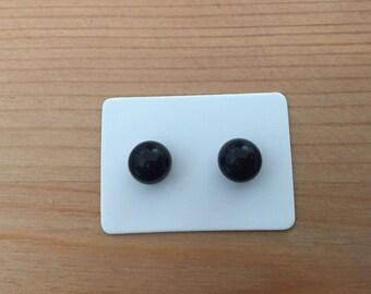 Black resin ball stud earrings