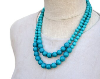 turquoise beaded necklace / turquoise necklace / turquoise bridesmaid necklace / wood bead necklace / blue bead necklace