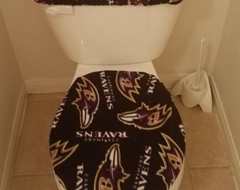 NFL BALTIMORE RAVENS Fleece Toilet Seat Cover Set (2PC) Valentine's Day Special