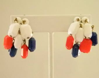 Vintage Red White Blue Beaded Dangle Clip On Earrings - West Germany