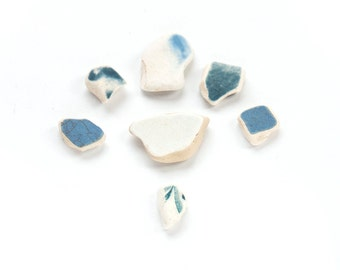 7X BLUE AND WHITE sea pottery shards Set batch of 7x coordinating sea china shards decorative vase filler cabochon craft mosaic art supply