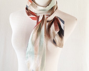 Vintage Colorful Pastel Striped Ombre Ascot Scarf