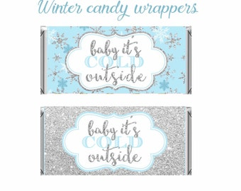Winter Wonderland Candy Bar Wrappers, Blue and Silver,Birthday,Winter Baby Shower favors, winter onederland chocolate Wrapper, Digital File