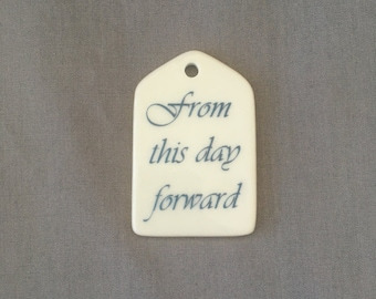 """Gold Outlined Bouquet Charm - """"from this day forward"""""""