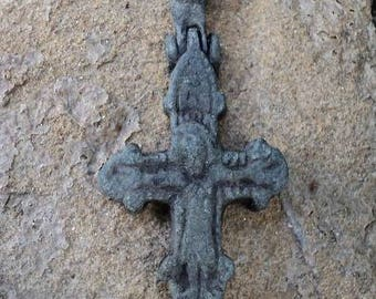 Ancient cross of Encolpion 9th 13th c. Kievan Rus. Authentic Christian cross. The Vikings. Artifact. Jesus