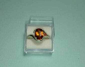 Spessartite and Sapphire Accent Ring, Natural Orange Spessartite Garnet and Orange Sapphire Size 6 Ring