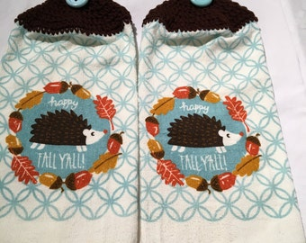 Hedgehog Happy Fall Y'all Hand or Kitchen Towel Set of 2
