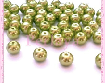 Set of 50 8mm olive green REF2579 glass pearls