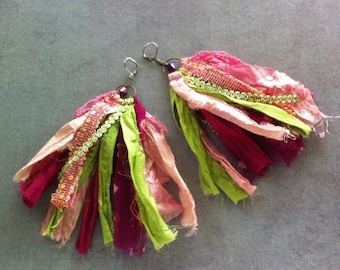Sari Silk Earrings, Fiber Earrings, Bohemian Earrings, Sari Silk Jewelry, Boho Jewelry