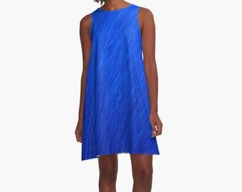 Royal Blue Sleeveless Dress, Sun Dress, Beach Dress, Blue Boho Dress, Royal Blue A-line Dress, Blue Dress, Tunic Dress, Wearable Art Dress