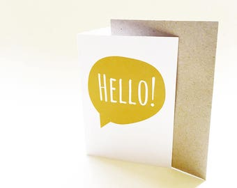 Hello Speech Bubble Greeting Card | Yellow Hello Card | Birthday Card | Blank Card | All Occasion Card | Friend Card | Card for him