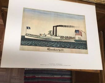 "AMERICAN PRIMITIVE WATERCOLOR pRINT: Steamboat ""Bunkerhill"" by Frederick Huge"