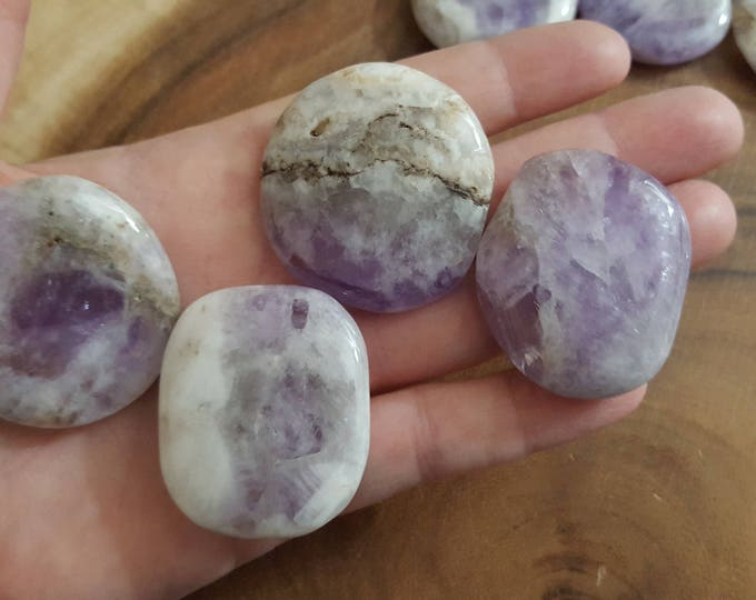 Amethyst Palm Stone, Chakra Stone, Worry Stone, Fidget Stone~1 small Reiki infused polished flat, approx 1.5 inches