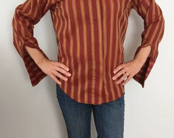Vintage 1960's Hippie Shirt / Burgundy Button Down, Yellow and White Pinstripes / 60s Style Long Sleeve Striped Shirt / Ann Robin Size 34