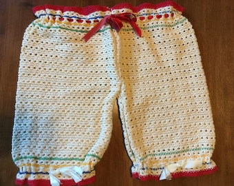 Vintage bloomers dishcloth, natural crochet w/red bands, red and white ribbon drawstrings