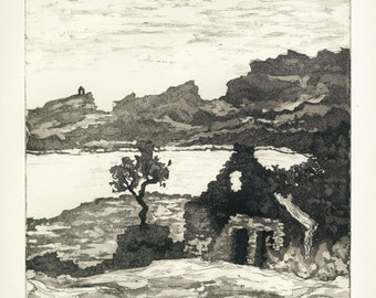 The Melancholy of Stones Donegal Ireland Aquatint Etching Original Handpulled Print